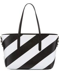 Off-White c/o Virgil Abloh - Medium Diagonal Striped Leather Tote Bag - Lyst