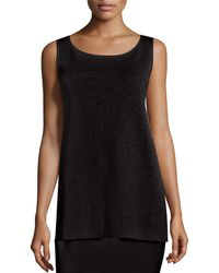 Eileen Fisher - Washable Wool Crepe Long Tank - Lyst