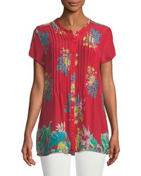 Johnny Was - Short-sleeve Flower Arch Button-front Pintucked Blouse - Lyst