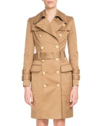 Balmain - Double-breasted Golden-button Belted Trench Coat - Lyst