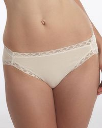 Natori Bliss French Cut Lace Trimmed Briefs - White