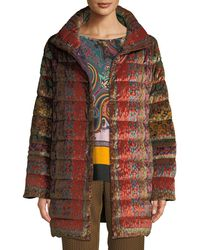 Etro - Reversible Paisley-jacquard Velvet Quilted Mid-length Puffer Coat - Lyst