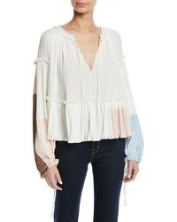 3.1 Phillip Lim - Pleated Colorblock Long-sleeve Ruffle Top - Lyst