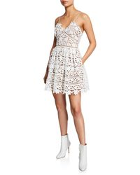 Self-Portrait Azaelea Floral Lace Mini Dress - White