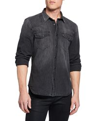 7 For All Mankind Men's Western Shirt In Greystone Black - Gray