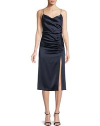 Alice + Olivia - Dion Ruched Midi Slip Dress With Slit - Lyst