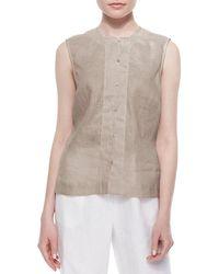 Go> By Go Silk Petite Linen Button-front Shell - Multicolor