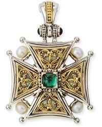Konstantino - Hestia Cross Pendant W/ Green Tourmaline - Lyst