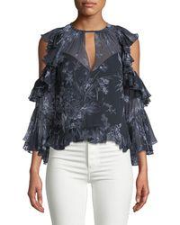 Cinq À Sept - Grace Cold-shoulder Ruffled Silk Blouse - Lyst