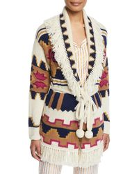 Figue Tala Chunky Intarsia Fringe-trim Belted Cardigan - White