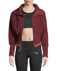 adidas By Stella McCartney - Training Fleece Cropped Zip-front Activewear Jacket - Lyst