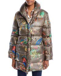 Etro - Snap-front Long-sleeve Multicolor Lemur-print Puffer Coat - Lyst