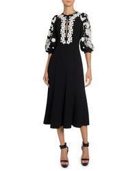 Andrew Gn Balloon-sleeve Lace-trimmed Crepe Dress - Black