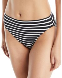 MICHAEL Michael Kors - High-waist Striped Bikini Bottoms - Lyst