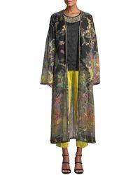 Etro - Long Paisley Print Chiffon Coat - Lyst