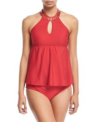 Athena - Hey There Studded High-neck Tankini Swim Top - Lyst