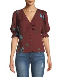 Joie - Anevy Floral Silk Button-front Ruffle Top - Lyst