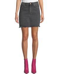DL1961 - Georgia Studded Frayed Denim Skirt - Lyst