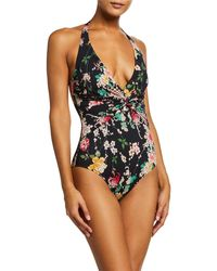 Johnny Was Mono Twisted Halter One-piece Swimsuit - Black