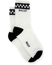 Bally Men's Logo-pattern Tube Socks - White