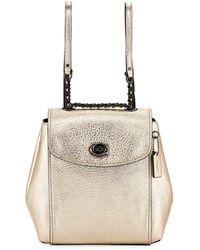 89bbf71b507d Michael Kors Rhea Medium Metallic-leather Backpack in Metallic - Lyst