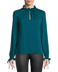 MILLY - Jenny Ruffled-neck Long-sleeve Stretch-silk Top - Lyst