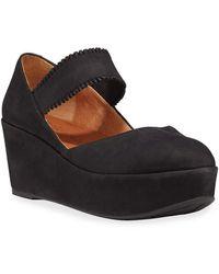 Gentle Souls Nyssa Ruffle-strap Nubuck Wedge Sandals - Black
