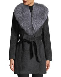 Sofia Cashmere Oversized Fur-collar Belted Wrap Coat - Gray