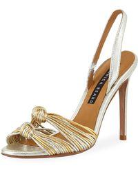 Veronica Beard - Alessia Metallic Knot Sandals - Lyst