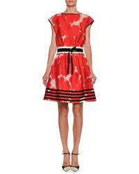 Giorgio Armani - High-neck Cap-sleeve Floral-jacquard Cotton-silk Dress - Lyst