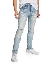 Purple Men's Slim-fit Distressed Jeans - Blue
