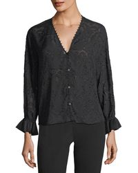 Emporio Armani - V-neck Long-sleeve Burnout Blouse - Lyst