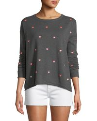 Lisa Todd - More To Love Cotton/cashmere Sweater With Scattered Hearts - Lyst