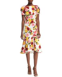 Naeem Khan - High-neck Floral-print Matelasse Midi Cocktail Dress - Lyst