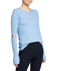 Helmut Lang - Ribbed V-neck Sweater With Slash Details - Lyst