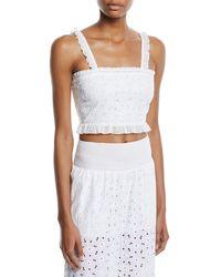 Kisuii Romy Cotton Floral Eyelet Crop Top - White