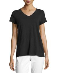 Eileen Fisher - Short-sleeve V-neck Jersey Tee - Lyst