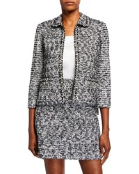 St. John Modern Statement Tweed Blazer - Black