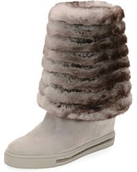 Rene Caovilla - Skiara Suede Wedge Knee Boots With Fur Lining - Lyst