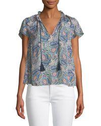 Ella Moss - Floral-print Short-sleeve V-neck Blouse - Lyst