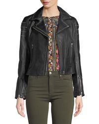 Lamarque - Loni Studded Leather Cropped Moto Jacket - Lyst