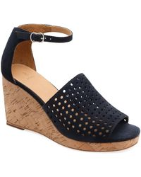 Bill Blass Zelda Perforated Wedge Sandals - Blue