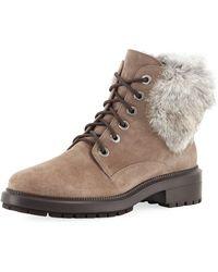 Aquatalia - Lacy Suede Combat Boots W/ Fur Trim - Lyst
