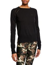The Upside Arrow Embroidered Sweater - Black