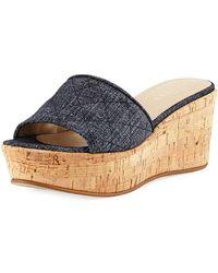 Sesto Meucci - Tarie Quilted Denim Wedge Slide Sandal - Lyst