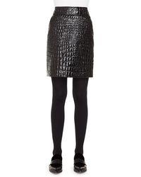 Akris Punto - Crocodile-embossed Patent Leather Pencil Skirt - Lyst