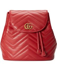 2542b89a0 Gucci GG Marmont Chevron Quilted Leather Mini Backpack in Black - Lyst