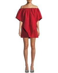 Valentino - Pleated Off-shoulder Cady Dress - Lyst