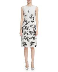 Oscar de la Renta - Fern-print Sleeveless Sheath Dress - Lyst