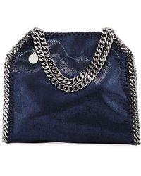 179131f5b791 Lyst - Stella McCartney Falabella Striped Canvas Mini Tote Bag in Blue